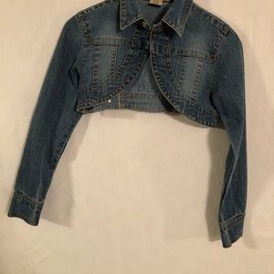 No Fuze Hook Front Women's Cropped Denim Jacket L